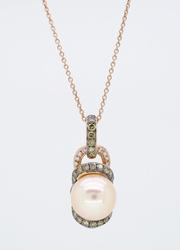 Le Vian Pink Pearl and Diamond Necklace