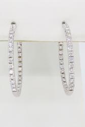 14K White Gold Inside Out Diamond Hoop Earrings