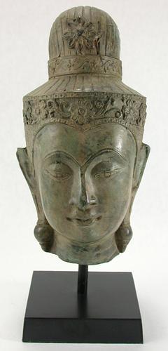Cambodian Female Deity Head Bronze Statue