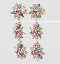 14kt Gold Ruby, Emerald, Sapphire Earrings
