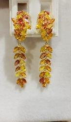 7+ Carat Multi Colored Sapphire Earrings, 14kt