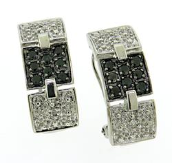 Lovely Black and White Square Pave Earrings
