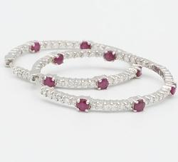 Gorgeous 14kt Gold Ruby & 2.5 CTW Diamond Hoop Earrings