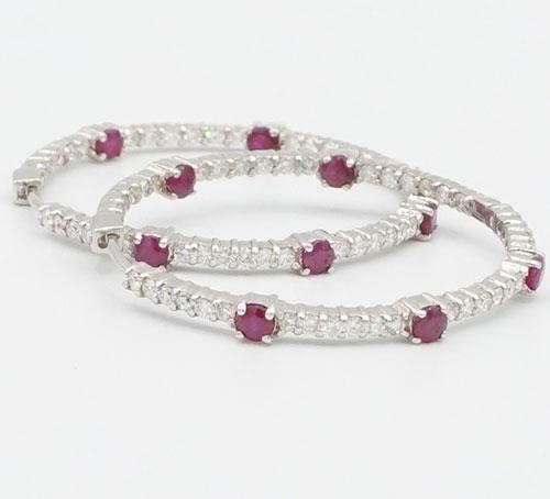 Gorgeous 14kt Gold Ruby & Diamond Hoop Earrings, 5+ CTW
