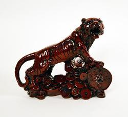 Good Luck / Wealth Chinese Tiger on Cash Coins Figurine