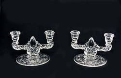 Two Vinage Etched Glass Candle Holders, Floral Pattern