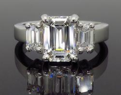 14K White Gold AGS Certified Diamond Ring