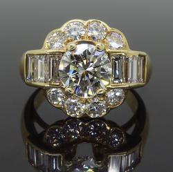 14K Yellow Gold Custom 2.20CTW Diamond Ring