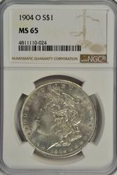 Blazing Gem BU 1904-O Morgan Silver Dollar. NGC MS65