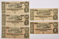 5 x 1864 $10 Confederate States Notes