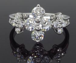 Platinum Cluster Diamond Ring