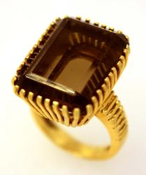 Large Smoky Quartz Ring in Gold, Size 6
