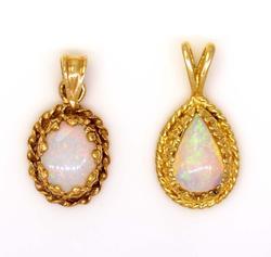 Two Opal Pendants in Gold