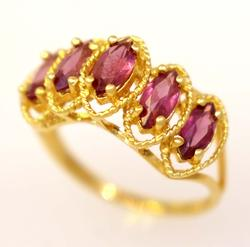 Pink Garnet Ring in Gold, Size 4.75