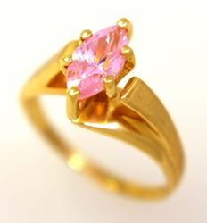 Pink Crystal Ring in Gold, Size 7.5