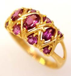 Multi-Garnet Ring in Gold, Size 9