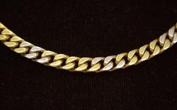 Solid 16in Two Tone Gold Chain