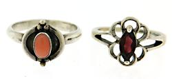 Lot of 2 Gemstone Sterling Silver Rings
