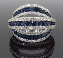 Three Row Sapphire & Diamond Ring