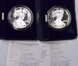 Pair of Proof Silver Eagles, 2002, 2003