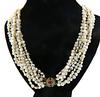 Fresh Water Pearl Multi Strand Necklace with Ruby & Diamond