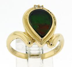 Nice Ammolite and Diamond Ring