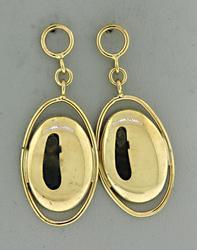 Oval Dangle Gold Earrings