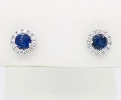 14K White Gold Sapphire & Diamond Halo Earrings
