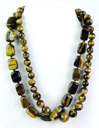 2 Chunky Tiger Eye Necklaces