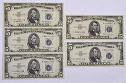 5 x $5 Silver Certs Unc 53A 4 x 53B
