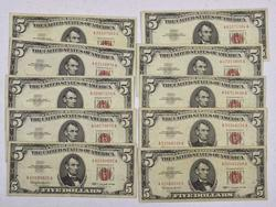 10 x $5 Red Seal Notes, Circ