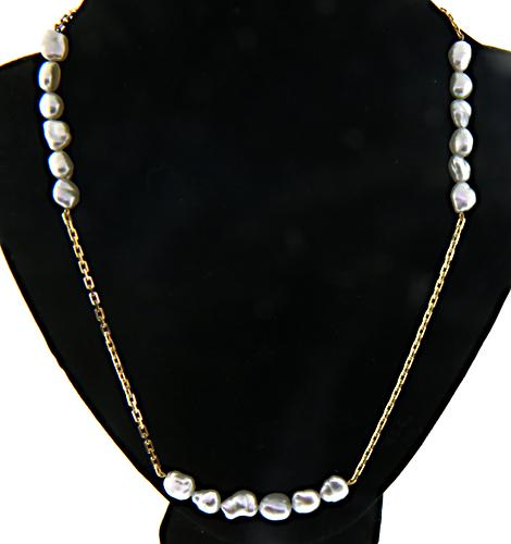 Grey Pearl Bar Station Necklace