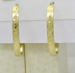 Ornate Flat Elongated Hoops in 14kt gold
