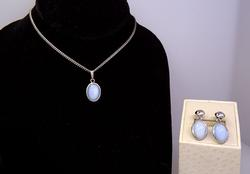 Manmade Moonstone Pendant and Matching Screw Back Earrings