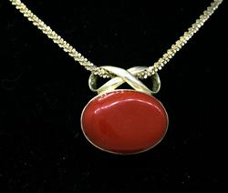 Heavy Red Stone Pendant on Sparkling Sterling Chain, 15.75in