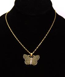 Shimmering Gold Butterfly Pendant on 18in Chain