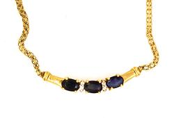 Sapphire & Diamond Accent Necklace in Gold, 16in