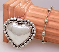 Large Sterling Heart Pin & 7in Beaded Bracelet