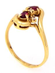 Vintage Ruby Ring with Diamond Accents in Gold, Size 8.5
