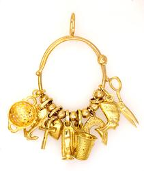 Gold Charm-Holder Pendant with Ten Charms & Seven Beads
