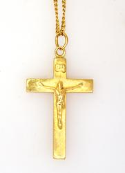 14K Gold Cross Pendant on 18in Chain