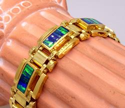 Men's Heavy 14K Gold Opal Filled Bracelet