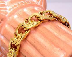Men's 18K Gold Double Curb Link Bracelet, 9in