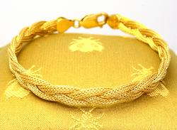 14K Gold Braided Bracelet, 7.25in