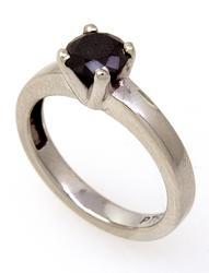 .80CT Black Diamond Platinum Ring, Size 5
