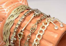 Five Sterling Bracelets, Multi-Gem, Charm Bracelet, Etc