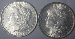 1884 O and 1886  Frosty White BU Morgans