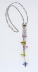 Unique Design Rainbow Sapphire Necklace with Diamonds