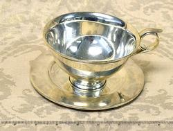 Large Sterling Tea Cup and Saucer