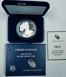 2012-W Proof American Silver Eagle $, OGP